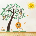 Nursery Cheeky Monkeys Swinging In A Tree Wall Art Sticker - PD315