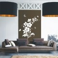 Stylish Flowers and Butterfly Wall Art Sticker - PD114