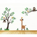 Giant Tree With Monkeys And Giraffe Nursery Wall Art Sticker - PD269